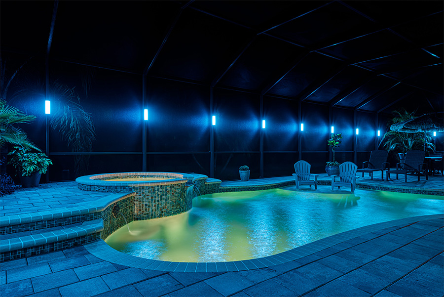 pool screen cage lighting Brevard Melbourne Florida by Florida Lightscapes
